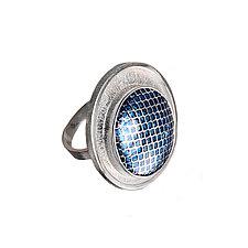 Patterned Turquoise Enamel & Silver Ring by Jan Van Diver (Enameled Ring)