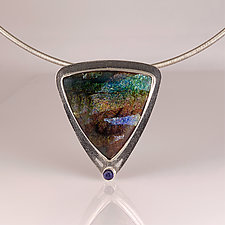 Organic Triangular Enamel and Iolite Pendant in Silver by Jan Van Diver (Gold, Silver & Enamel Necklace)