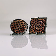 Asymmetrical Enamel Cufflinks by Jan Van Diver (Silver & Enamel Cufflinks)