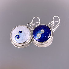 Asymmetric Cobalt Cloisonne Enamel Earrings by Jan Van Diver (Enameled Earrings)