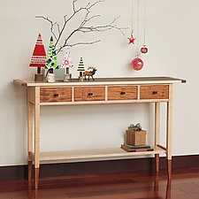 Solid Tiger Maple Table by Tom Dumke (Wood Console Table)