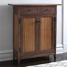 Zebra Two-Drawer Side Cabinet by Tom Dumke (Wood Cabinet)