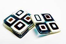 Aqua Retro Coasters by Helen Rudy (Art Glass Coasters)
