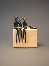 Family of Three with Pet by Yenny Cocq (Metal Sculpture)