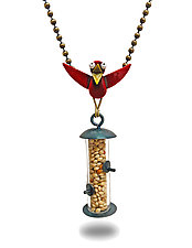 Fast Food Necklace by Lisa and Scott  Cylinder (Mixed-Media Necklace)