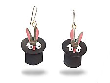 Rabbit Out of a Hat Earrings by Lisa and Scott  Cylinder (Metal Earrings)