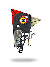 Spotted Woodpecker Pin by Lisa and Scott  Cylinder (Mixed Media Brooch)