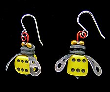 Boxcar Bee Earrings by Lisa and Scott  Cylinder (Metal Earrings)