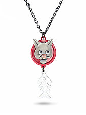 Cat-Fish Necklace by Lisa and Scott  Cylinder (Metal Necklace)