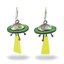 Space Invader Earrings by Lisa and Scott  Cylinder (Metal Earrings)