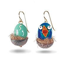 Blue Hatchling Earrings by Lisa and Scott  Cylinder (Metal Earrings)