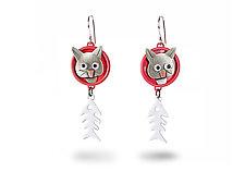 Cat-Fish Deluxe Earrings by Lisa and Scott  Cylinder (Metal Earrings)