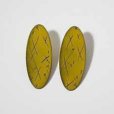 X Marks Oval Earrings by Kat Cole (Enameled Earrings)