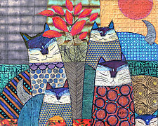 Cats and Roses by Penny Feder (Giclee Print)
