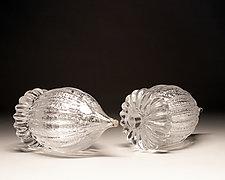 Silver Leaf Acorn by Scott Summerfield (Art Glass Sculpture)
