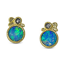 Opal Pebble Stud Earrings by Rona Fisher (Gold & Stone Earrings)