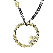 Circle of Pebbles Pendant Necklace by Rona Fisher (Gold, Silver & Stone Necklace)