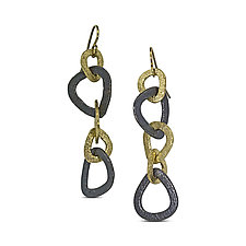 Trillion Link Dangle Earrings by Rona Fisher (Gold & Silver Earrings)