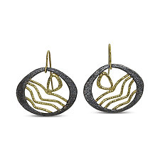 Lake Sunrise Earrings by Rona Fisher (Gold & Silver Earrings)