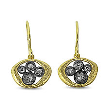 Soft Open Pebble Earrings by Rona Fisher (Gold, Silver & Stone Earrings)