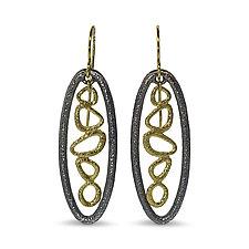 Open Floating Pebbles Earrings by Rona Fisher (Gold & Silver Earrings)