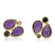 Amethyst Stud Earrings with Black Diamond by Rona Fisher (Gold & Stone Earrings)