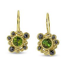 Green Tourmaline & Black Diamond Earrings by Rona Fisher (Gold & Stone Earrings)