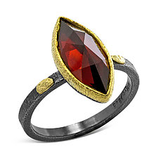 Textured Pebbles Marquise Garnet Ring by Rona Fisher (Gold, Silver & Stone Ring)