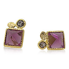 Rhodolite and Diamond Stud Earrings by Rona Fisher (Gold & Stone Earrings)