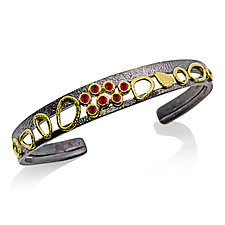 Double Cuff Ruby Bracelet by Rona Fisher (Gold, Silver & Stone Bracelet)