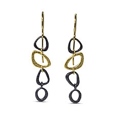 Open Pebble Chain Earrings by Rona Fisher (Gold & Silver Earrings)