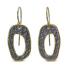 Free-Form Open Pebble Earrings by Rona Fisher (Gold & Stone Earrings)