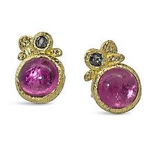 Pink Tourmaline Pebble Stud Earrings by Rona Fisher (Gold & Stone Earrings)