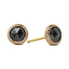 Black Diamond Stud Earrings by Rona Fisher (Gold & Stone Earrings)