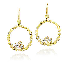 Circle of Pebbles Earrings by Rona Fisher (Gold & Stone Earrings)