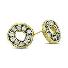Odin Stone Stud Earrings with Diamonds by Rona Fisher (Gold & Diamond Earrings)