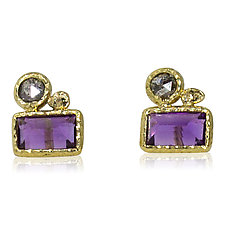 Baguette Amethyst Stud Earrings with Diamond by Rona Fisher (Gold & Stone Earrings)