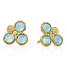 Trio Round Aquamarine Stud Earrings by Rona Fisher (Gold & Stone Earrings)