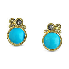 Turquoise Pebble Stud Earrings by Rona Fisher (Gold & Stone Earrings)
