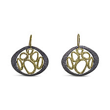 Lunar Landscape Earrings by Rona Fisher (Gold & Silver Earrings)