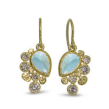 Aquamarine Dangle Diamond Earrings by Rona Fisher (Gold & Stone Earrings)