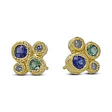Four Stone Stud Earrings by Rona Fisher (Gold & Stone Earrings)