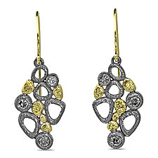 Cascading Open Pebbles Earrings by Rona Fisher (Gold and Silver Earrings)