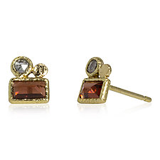 Baguette Garnet Stud Earrings with Diamond by Rona Fisher (Gold & Stone Earrings)
