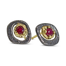 Ruby Pebble Stud Earrings by Rona Fisher (Gold & Silver Earrings)