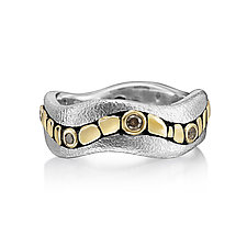 Golden River Diamond Band Ring- Size 7 by Rona Fisher (Gold, Silver & Stone Ring)