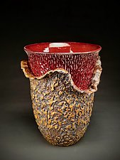 Modest Organic Peel Red Vessel by Daniel  Bennett (Ceramic Vase)