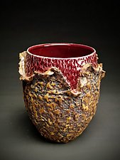 Petite Organic Peel Red Vessel by Daniel  Bennett (Ceramic Vase)