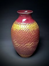 Modest Southwest Red Notched Vessel by Daniel  Bennett (Ceramic Vase)
