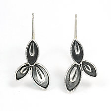 Three Leaf Hoops by Vickie  Hallmark (Silver Earrings)